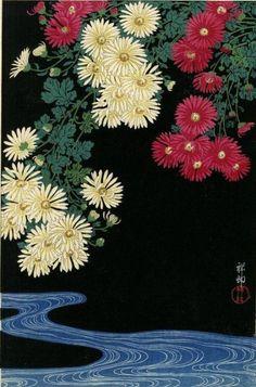 "mitakuye-oyasinn: "" Ohara Shoson Chrysanthemum and Stream, 1931 """