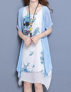 Women s Plus Size Daily Loose Dress - Floral Print Summer Blue Pink XL XXL  XXXL 47e3eb90e0