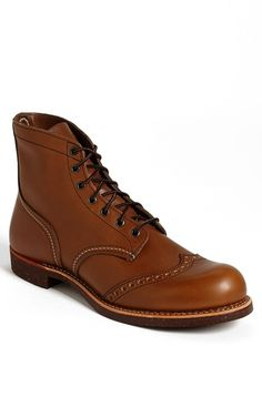 $320, Tan Leather Brogue Boots: Red Wing Shoes Red Wing Brogue Ranger Wingtip Boot. Sold by Nordstrom. Click for more info: https://lookastic.com/men/shop_items/32120/redirect
