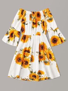 Floral Print Flounce Sleeve Off Shoulder Dress Cute Girl Outfits, Cute Casual Outfits, Girly Outfits, Pretty Outfits, Dress Outfits, Casual Dresses, Woman Outfits, Midi Dresses, Spring Dresses