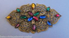 Vintage Gold Tone Pin/Brooch With Multi-Colored Stones