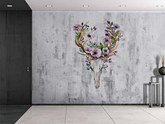 Wall26 - Deer Skeleton with Flowers Sitting on a Grayscal... https://www.amazon.com/dp/B01EJM1K1W/ref=cm_sw_r_pi_dp_x_QbsOyb1C0TNTC