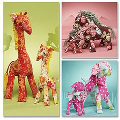 McCall's Pattern Retro Lamb, Horse and Giraffe in 2 Sizes, 1 Size Only