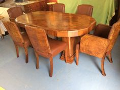 Art Deco Burr & Figured Walnut Dining Table And C - Antiques Atlas Antique Dining Tables, Walnut Dining Table, Dining Table Chairs, Dining Suites, Art Deco Furniture, Art Deco Design, Upholstered Chairs, Antiques, Home Decor