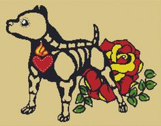Modern Cross Stitch Kit 'Skeleton Pit Bull' By by GeckoRouge, $81.00