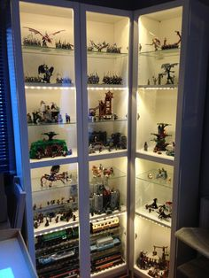 A display case presents the inner-self of the creator. With a look at the display case, you can know the person inside. There are DIY display case ideas. Lego Shelves, Lego Storage, Display Shelves, Display Cases, Book Shelves, Display Cabinets, Display Cabinet Lighting, Storage Ideas, Lego Display Case