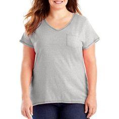 Just My Size Women's Plus-Size X-Temp Pocket Tee, Size: 3XL, Silver