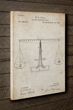Scales of Justice Patent Canvas Art Lawyer Gift by PatentPrints
