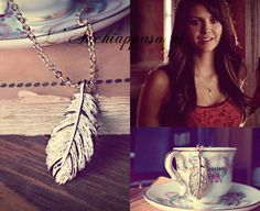 The Vampire Diaries Jewelry - Elena Gilbert INSPIRED Necklace 16k matt gold plated pewter feather  - stainless steel chain - season 4 ep. 23 on Etsy, $23.85 AUD