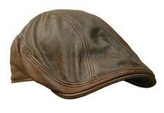 Leather Ivy Cap Men Gatsby Newsboy Hat Golf Brown Driving Flat Cabbie s M L XL | eBay