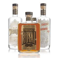 """""""The goods for @toms_town. Eli's strongarm vodka, pendergast's royal gold bourbon and mcelroy's corruption gin. Individual shots and detail close ups…"""""""
