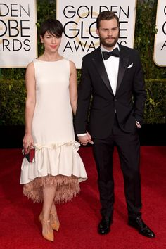 Pin for Later: Hollywood's Hottest Couples Take Over the Globes Red Carpet Jamie Dornan and Amelia Warner