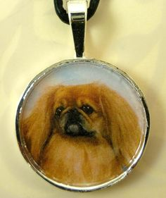Altered Art Pekingese in Round Silver Plated Pendent by dogonitart, $9.00