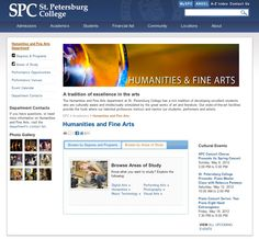 The recently re-vamped Humanities and Fine Arts website at St. Petersburg College running on Ektron CMS.