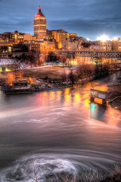 Long Exposure of the Kodak Building over the Genesee River