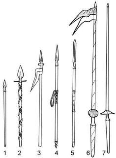 (1) Hajítólándzsa, gerely   (2) Vaddisznólándzsa (3) Szárnyas lándzsa   (4,5) Vívólándzsa (6) Huszár kopja   (7) Lovagi kopja