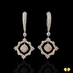 @novelcollection. Beautiful fancy pink diamonds make these earrings rare and spectacular!