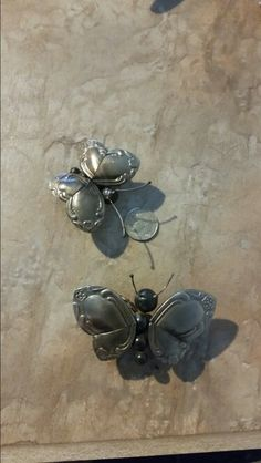 Butterflies made from spoon handles TIG welded