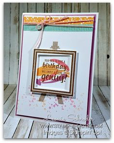 Birthday Frame using Painter's Palette this week on Freshly Brewed Projects with the Latte Girls Birthday Frames, Brewing, Latte, Stampin Up, Paper Crafts, Diy Projects, Scrapbook, South Pacific, Painters