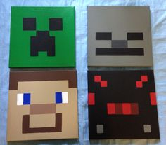 Minecraft Steve creeper skeleton and spider on canvas