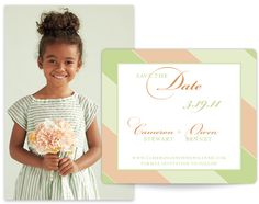 Sassy Stripes in pastels! Set the tone with your colors on your personalized Save the Date!