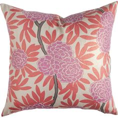 Brighten your favorite arm chair or the guest bed with this lovely pillow, showcasing bold blooms in berry and coral hues.   Product: