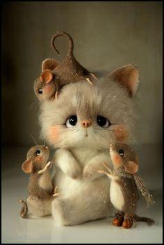 Top 20 cute looking baby animals Needle Felted Animals, Felt Animals, Needle Felting, Baby Animals Super Cute, Cute Little Animals, Cute Mouse, Felt Dolls, Felt Art, Animal Drawings