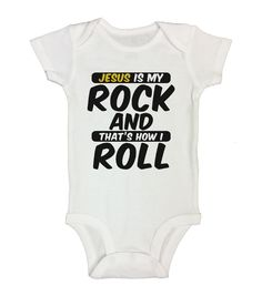 JESUS IS MY ROCK AND THAT'S HOW I ROLL - Funny Kids Rompers