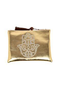 "Ideal Medium hamsa embroidered clutch with a top tassel zipper closure.    ApproxMeasure: 7.5"" x 4.5"" x 1"".   Gold Medium Hamsa Clutch by Le Beau Maroc . Bags - Clutches - Casual Florida"