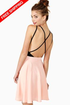 068a462779 Free shipping 2014 Sexy Halter front deep V splicing waist harness Chiffon  Dress  23.70 Suspender Skirt