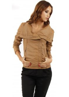 Designer Desirables Faux Leather Tan Biker Shawl Collar Jacket #fauxleather #leatherlook