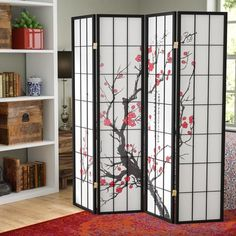 "Lilliana 71"" x 72"" Japanese Plum Blossom 4 Panel Room Divider"