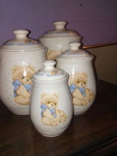 TIENSHAN stoneware 4 set ceramic matching teddy bear cookie jars