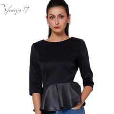 Young17秋ファッションtシャツ女性カジュアルpuレザーパッチワークフリルtシャツトップススリム女性ブラックブランドtシャツプラスサイズ