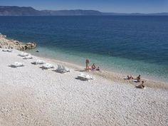 Beaches in Rabac, Istria, Croatia.