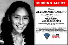 ALYSAMARIE CARLINO, Age Now: 14, Missing: 10/05/2016. Missing From ARLINGTON, MA. ANYONE HAVING INFORMATION SHOULD CONTACT: Arlington Police Department (Massachusetts) 1-781-643-1212.