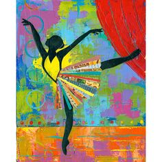 Black Ballerina 8x10 PRINT Dancer impasto collage art modern dance  by Elizabeth Rosen