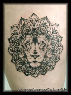 lion mandala tattoo design free by. Black Bedroom Furniture Sets. Home Design Ideas