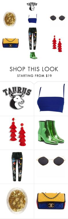 """""""TAURUS FIT"""" by cielozzzul on Polyvore featuring Good American, Versace, BaubleBar, Dolce&Gabbana and Chanel"""