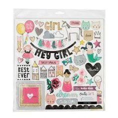 Cute Girl - Chipboard Stickers