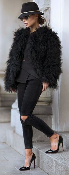 All Black Everything, Black Skinny Jeans, Faux Fur Top and Christian Louboutin Pumps