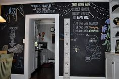 Awesome Chalkboard Wall --might have to do this in the grandkid room someday