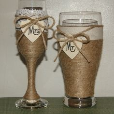 VARIETY...WE LOVE IT!  These Rustic Wedding Champagne Flute and Beer Glass are now available with heart tags for personalization....simply wedding fabulous!