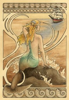 Mermaid watches a ship approach art nouveau by CaryeVDPMahoney,