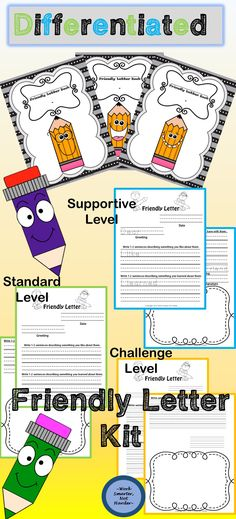 Friendly Letter Writing instantly captures the interest of young writers! Meet them at their individual levels with 3 Different formats- supportive, standard, and challenging.