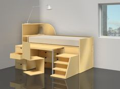 concept for a desk and bed storage combination Box Bedroom, Kids Bedroom, Diy Interior, Bed Storage, Cool Rooms, Unique Furniture, Design Projects, Small Spaces, Sweet Home