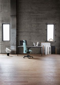 Ferm Living - Embracing the concept of low living - Hege in France Office Furniture, Office Decor, Office Chairs, Industrial Office Design, Grey Office, Concrete Wall, Long Hours, Leather Working, Luxury