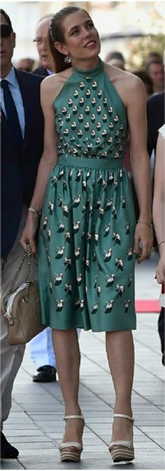 Charlotte Casiraghi in Gucci dress. Charlotte Marie Pomeline Casiraghi is the second child of Caroline, Princess of Hanover, and Stefano Casiraghi, an Italian industrialist. She is fifth in line to the throne of Monaco. Wikipedia