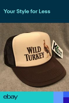 Wild Turkey Whiskey Trucker Hat Vintage 80 s Snapback Cap Bourbon Tan Brown df4b7c69b9c2