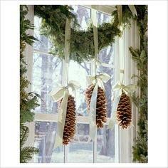 Add some sparkle or snow for Country Christmas window decorations :) Christmas Time Is Here, Noel Christmas, Winter Christmas, Christmas Ornaments, Country Christmas, Christmas Kitchen, Christmas Windows, Woodland Christmas, Homemade Christmas